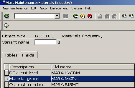 Mass Change of Material Group - Select Field